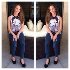 My girl is looking so cute in her Betty Boop shirt from #forever21 jeans #levi wedges #shiekh #simplechic #cute #loveit #bettyboop #fashion #properpinkfashion #follow #followme