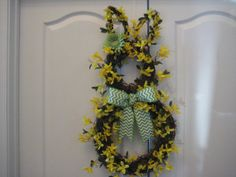 Yellow Easter Bunny Wreath made from Grapevine by lawler01 on Etsy, $55.00