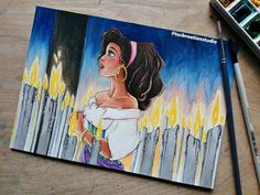 """Tas KreationStudio on Instagram: """"*SOLD* Original Watercolour Esmeralda 😄 the candles were actually so fun to do! She's the third girl in my Yearning Series - she yearns for…"""" Disney Animated Movies, Yearning, Disney Animation, Watercolour, Third, Candles, The Originals, Artwork, Fun"""