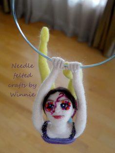 Acrobat/Gymnast Circus girl Needle felted Handmade OOAK decorative mobile