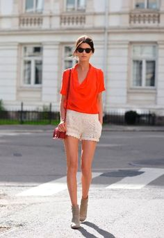 Lace shorts and orange top