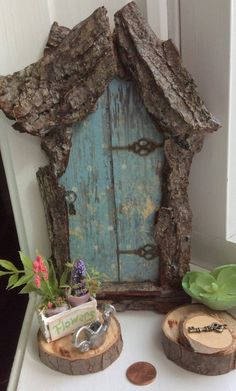 Fairy Door with Tiny Key ~ Each Hand Cut ~ One of a Kind ~ Several Sizes Handcrafted by Olive, Fairy Accessories, Fairy House, Fairy Door - Diy Furniture Beds Ideen Fairy Doors On Trees, Fairy Tree Houses, Fairy Garden Doors, Fairy Garden Furniture, Fairy Garden Houses, Gnome Garden, Fairy Crafts, Garden Crafts, Garden Ideas