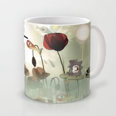 A really adorable #Ceramic #Mug featuring some whimsical #art !