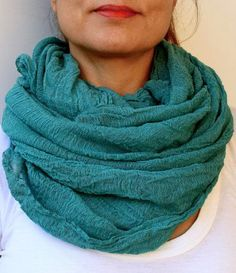 Turquoise Infinity Scarf Eternity by warmandsoft