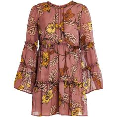 For Love & Lemons Santa Rosa Mini Dress (£313) ❤ liked on Polyvore featuring dresses, multicoloured, long sleeve dress, long-sleeve floral dresses, red dress, short floral dresses and long floral dresses