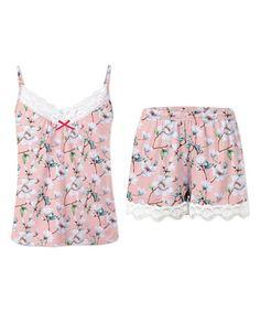 Look at this #zulilyfind! Pink Floral Lace-Detail Pajama Set #zulilyfinds