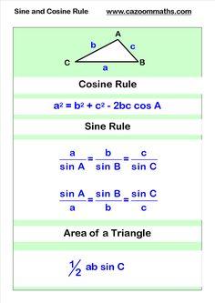 Math Trigonometry cosine and sine rule Geometry Worksheets, Math Worksheets, Math Resources, Gcse Maths Revision, Physics And Mathematics, Physics Notes, Math Notes, Math Vocabulary, Math Formulas