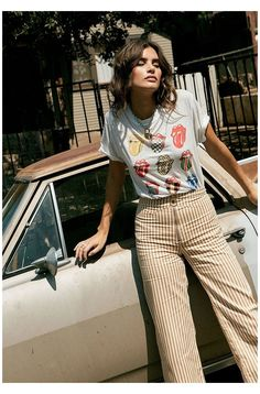 Band Tee Outfits, 70s Outfits, Hippie Outfits, Vintage Outfits, Cute Outfits, Fashion Outfits, Grunge Outfits, Photoshoot Fashion, Tomboy Outfits