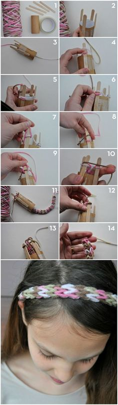 How to French Knit - make a hair band or scarf - easy one for kids