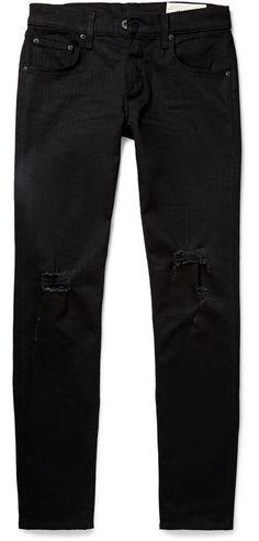 Rag & bone Skinny-Fit Tapered Fit 1 Distressed Stretch-Denim Jeans