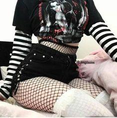 When I get skinnier imma wear all kinds of cute outfits Fashion Mode, Dark Fashion, Grunge Fashion, Gothic Fashion, Korean Fashion, Womens Fashion, Emo Outfits, Grunge Outfits, Girl Outfits