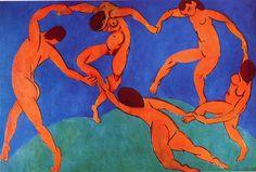 """Henri matisse obras famosas: La Danza.""""Mi primer elemento de construcción es el ritmo, el segundo: una gran superficie de azul sostenido, en alusión al cielo mediterráneo; y el verde, para los pinos""""."""
