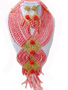 Soyagift Pink Nigerian Coral Beads Jewelry Set African Wedding Necklace Set Soyagift http://www.amazon.com/dp/B00PAEIVSY/ref=cm_sw_r_pi_dp_S3TUub1CW5X84