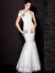 New Arrival Trumet / Mermaid Floor-length One Shoulder Ruffles Chiffon Prom Dresses White - $134.99 - Trendget.com