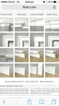 Four historically accurate molding styles, compared side by side by WindsorONE, via design home design interior design 2012 interior Estilo Craftsman, Craftsman Trim, Craftsman Interior, Home Renovation, Home Remodeling, Moldings And Trim, Crown Moldings, Types Of Crown Molding, Cove Crown Molding