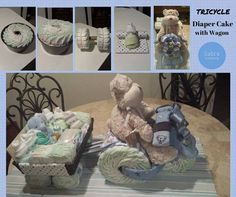 Tricycle Diaper Cake with Wagon https://www.facebook.com/photo.php?fbid=10207345970748081&set=a.1329862047196.2049214.1250334518&type=1&theater