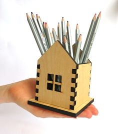 Wooden Pencil Holder Small house Home Decor Laser by WoodenWood, $24.00