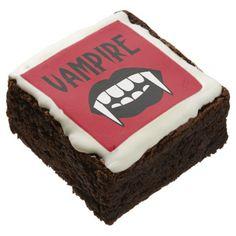 Blood Red Vampire Fangs HALLOWEEN Typography Brownie