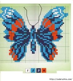 Синие бабочки. Вышивка крестом. Подборка. Обсуждение на LiveInternet - Российский Сервис Онлайн-Дневников