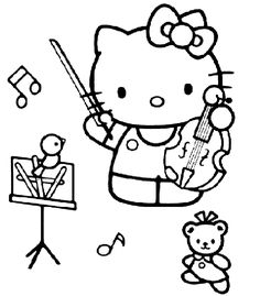 coloriage hello kitty dessins a imprimer pour les moyens