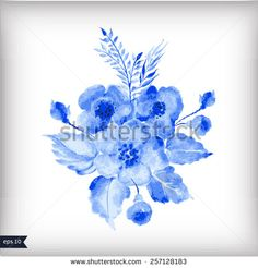 Watercolor illustration with blue leaves and flowers. Vector illustration for greeting cards, invitations, and other printing and web projects.