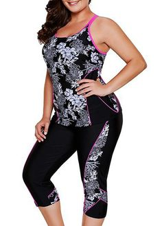 Plus Size Printed Top and Swimwear Cropped Pants Plus Size Tankini, Plus Size Swimsuits, Curvy Women Outfits, Clothes For Women, Curvy Fashion, Plus Size Fashion, Rash Guard Swimwear, Floral Tankini, Vintage Swimsuits