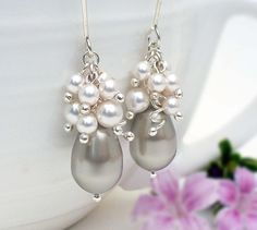 Ivory and silver pearl earrings bridal by CreativityJewellery, $65.00
