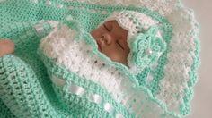 Crochet Baby Blanket / Afghan and Hat  Mint by HandmadeByHallien