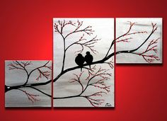 Love Birds in Tree Brance, ORIGINAL Large Wall Art 40 x 24, Silver Painting Triptych, Acrylic canvas, ready to hang, Valentines Day: