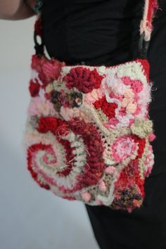 OOAK Red Pink Romance Freeform Crochet Handbag by RadicalFringeX, $85.00
