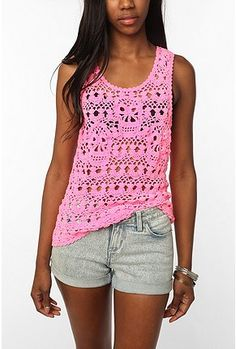 Tripp NYC pink skull crochet tank top at Urban Outfitters