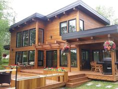 love the boxiness, flat clean lines, nice views with the arbor built into the ho… - Modern Dream Home Design, Modern House Design, Cabin Homes, Log Homes, Dream House Exterior, House In The Woods, Future House, Building A House, House Plans
