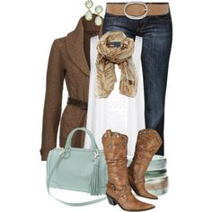 turquoise cowboy boot outfit polyvore | Replace the boots with chocolate and turquoise cowboy boots and it'd ...
