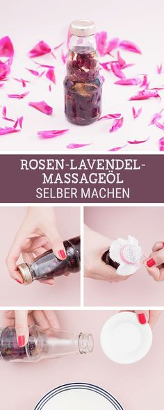 Wellness-Tip: Mit Rosen-Lavendel-Öl entspannen, wir zeigen Dir, wie Du das Beauty-Öl selbermachst / calm down with homemade lavender roses oil via DaWanda.com
