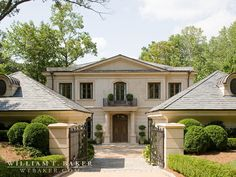 William T. Baker | balcony, French, French provincial, gate, hedges, limestone, limestone tile, slate roof