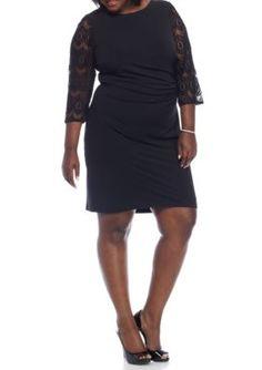 Jessica Howard Black Plus Size Jersey Sheath Dress