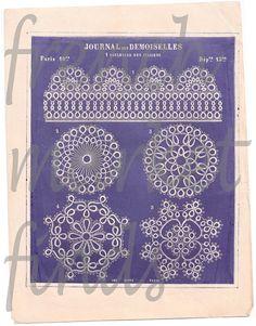 Pdf French Tatting Pattern Print Imprint by FrenchVintageTextile, €2.00