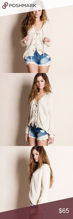 """Lace Up Sweater Top (cream) Lace up sweater top. This is an ACTUAL PIC of the item - all photography done personally by me. Model is 5'9"""" 32-24-36 32A wearing the size small. NO TRADES DO NOT BOTHER ASKING. PRICE FIRM. Bare Anthology Sweaters V-Necks"""