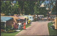 Vintage travel trailer park Florida FL linen postcard in Collectibles, Postcards, US States, Cities & Towns, Florida Vintage Florida, Old Florida, Mobile Home Parks, Mobile Homes, Tin Can Tourist, Vintage Travel Trailers, Vintage Campers, Vintage Caravans, Retro Trailers