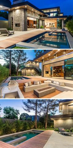 Modern Houses In this mansion's backyard, there's a swimming pool and outdoor dining area, kitchen, and a sunken lounge area surrounding a firepit, all perfect for entertaining. Chalet Design, Cabin Design, Future House, Moderne Pools, Design Exterior, Exterior Paint, Exterior Houses, House Goals, Modern House Design