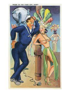 Pin-Up Girls - When Do We Take off Babe; Navy Officer Flirts with Cabaret Dancer Kunstdruk