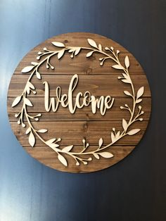 home accents ideas Wood Circle Welcome Sign, Farmhouse Decor, House Warming Gift Idea, Decorative Welcome Sign, Wooden Gravure Laser, Laser Cutter Projects, Wood Circles, Wooden Diy, Wooden Decor, Wooden Home, Wooden Gifts, Home Accents, Entryway Decor