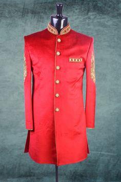 #Red raw #silk Indo-western #Sherwani in #golden bottom-IW172
