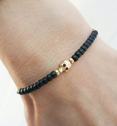 Items similar to Skull bracelet, Thread bracelet, friendship bracelet - black beads gold skull nylon cord on Etsy Thread Bracelets, Paracord Bracelets, Bracelets For Men, Handmade Bracelets, Beaded Bracelets, Men's Ankle Bracelet, Skull Bracelet, Bracelet Crafts, Urban Jewelry