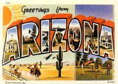 Greetings from Arizona ~ Vintage Postcard.  → For more, please visit me at: www.facebook.com/jolly.ollie.77