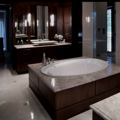 Check out the lighting in this beautiful bathroom.