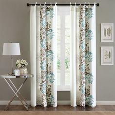 Adria Floral Grommet-Top Curtain Panel