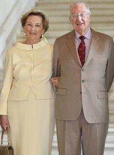 Queen Paola of Belgium and King Albert II of Belgium during a reception at the royal castle in Laeken on 10 July 2013