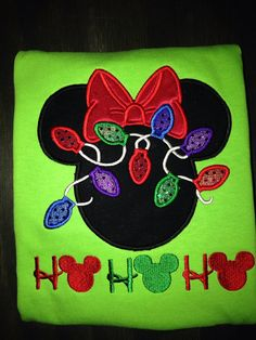 Christmas Mickey Ears appliqued shirt.