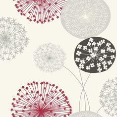 Lucienne Grey & Red Floral Wallpaper | Departments | DIY at B&Q